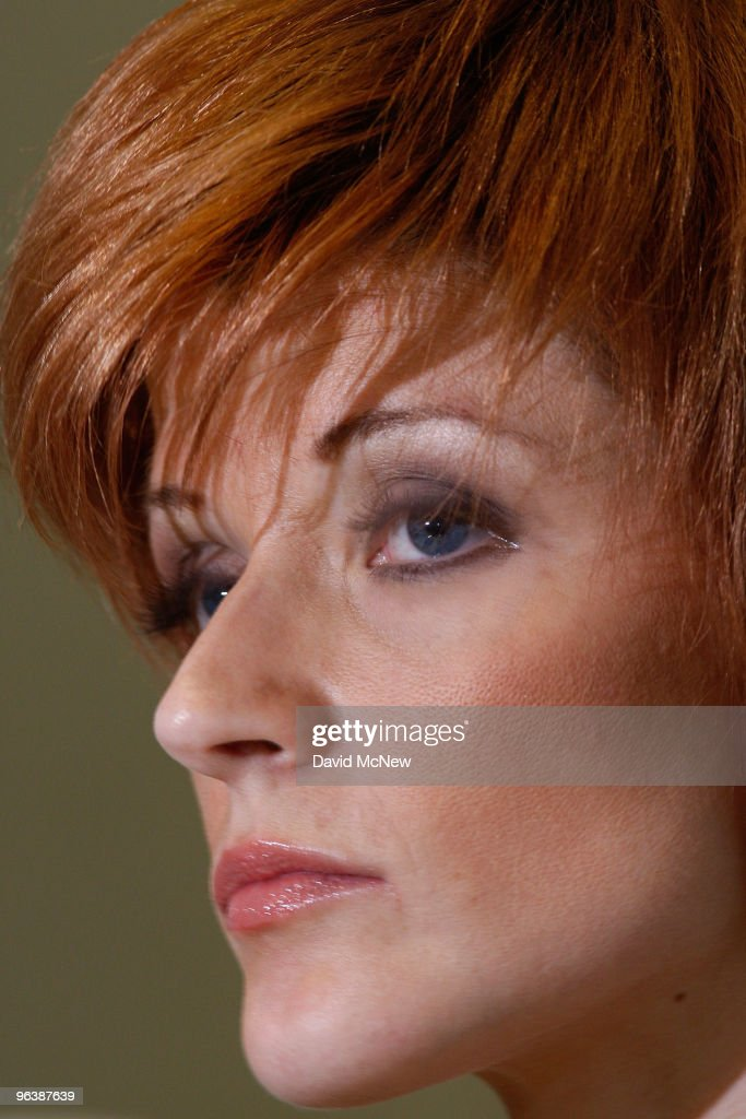Former adult film actress Veronica Siwik-Daniels (aka Joslyn James), who claims to have had a long-term intimate relationship with golf icon Tiger Woods, appears at a press conference at the offices of attorney Gloria Allred on February 3, 2010 in Los Angeles, California. Allred and Siwik-Daniels are calling for the end of the production of golf balls bearing an image of Siwik in the product series, 'Tail of the Tiger - The Mistress Collection'. Allred argues that putting the face of a woman on a ball which golfers hit with full force could result in marks on the image that might resemble bruises and may lead to inappropriate jokes about hitting women. James says that she loved Woods and had reason to believe that he loved her. She has been in seclusion and has not talked to the press until now.