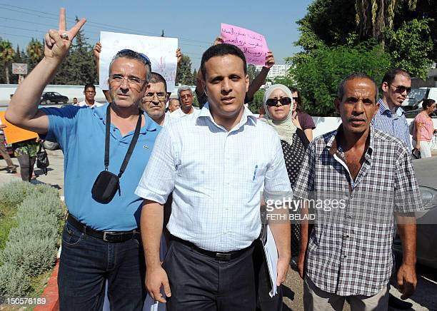 Former adviser to Tunisian President Ayoub Messaoudi arrives for his trial at a military court in Tunis on August 22 2012 Ayoub Messaoudi has been...