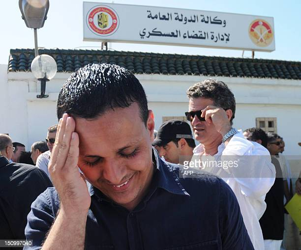 Former advisor to Tunisian President Ayoub Messaoudi arrives for his trial at a military court in Tunis on August 30 2012 Ayoub Messaoudi has been...