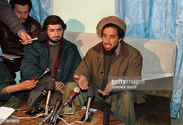 former Afghan Defence minister Ahmad Shah Masood in a press conference 50 km north of Kabul at Bagram airbase 11 January 1995 Masood called for...