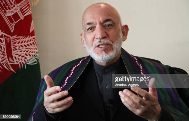 Former Afghan President Hamid Karzai speaks during an exclusive interview with Anadolu Agency in Kabul Afghanistan on May 28 2017