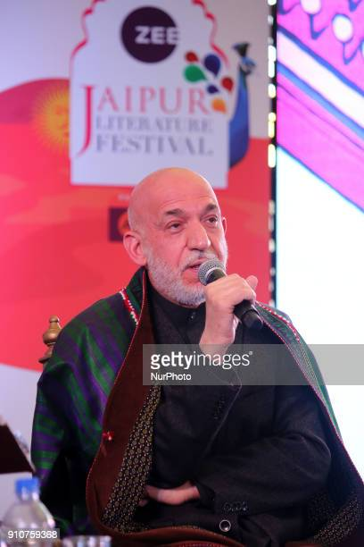 Former Afghan President Hamid Karzai speaks during the Jaipur Literature Festival 2018 at Diggi Palace in Jaipur Rajasthan India on 26 Jan 2018
