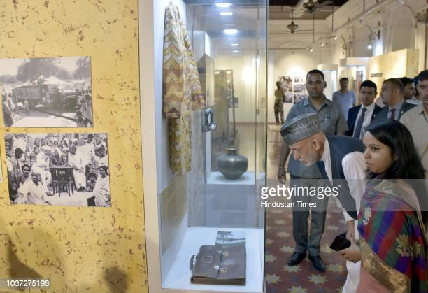Former Afghanistan President Hamid Karzai visits the Partition Museum on September 21 2018 in Amritsar India He spent some time there hearing...