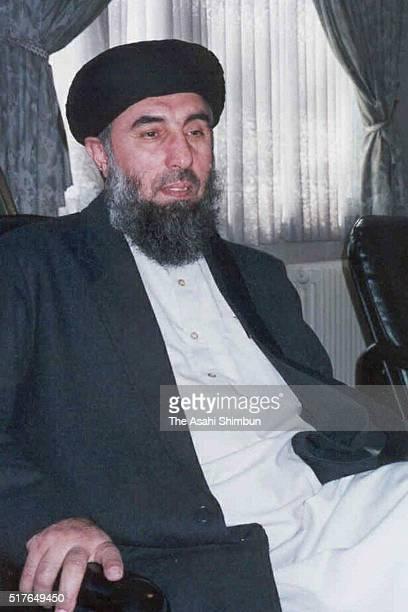 Former Afghanistan Prime Minister Gulbuddin Hekmatyar speaks during the Asahi Shimbun interview on November 4 2001 in Tehran Iran