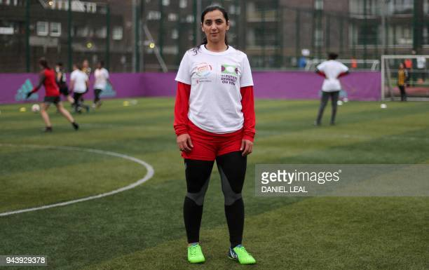 Former Afghanistan women's football captain Khalida Popal attends a training session in south London on March 30 2018 Former Afghanistan women's...