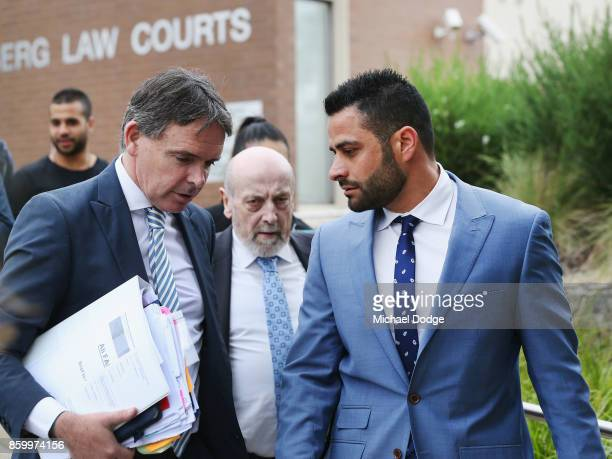 Former AFL Diversity Manager Ali Fahour leaves Heidelberg Magistrates Court with lawyers and supporters on October 11 2017 in Melbourne Australia...