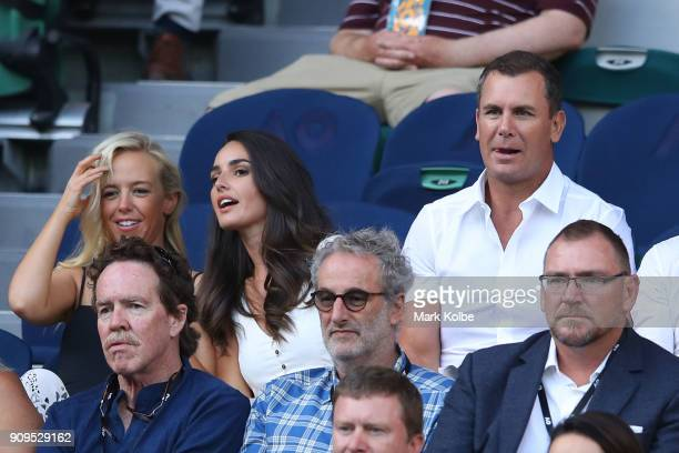 Former AFL footballer and media personality Wayne Carey watches the quarterfinal between Roger Federer of Switzerland and Tomas Berdych of the Czech...