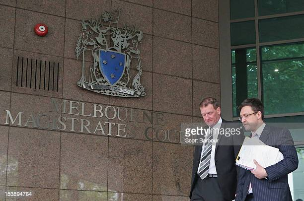 Former AFL player manager Ricky Nixon departs Melbourne Magistrates' Court on October 11 2012 in Melbourne Australia Nixon faced court today over the...