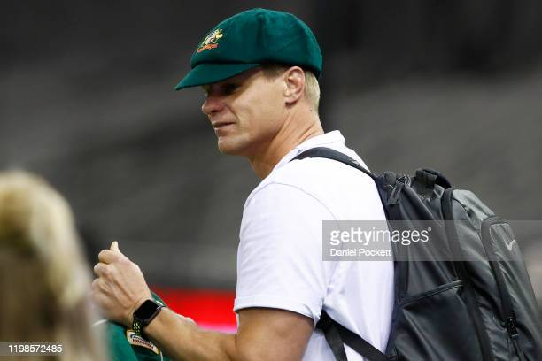 Former AFL player Nick Riewoldt is seen wearing Shane Warne's baggy green cap, ahead of the Big Bash League match between the Melbourne Renegades and...