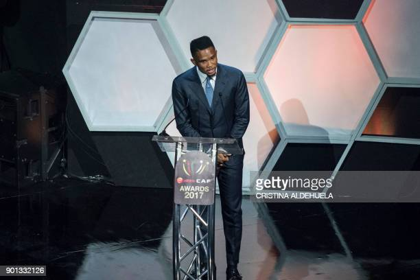 Former African Footballer of the Year and Cameroonian striker Samuel Eto'oFils speak during the press conference after the CAF awards at the Accra...
