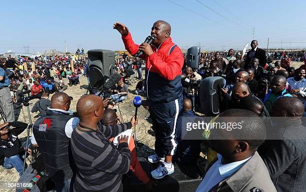 Former African National Congress' Youth League leader Julius Malema addresses platinium miners on August 18 2012 at Londonlisted Lonmin's Marikana...