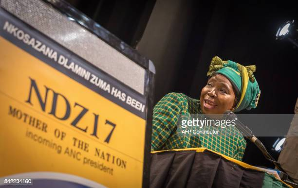 Former African Union chair and current African National Congress front runner for ANC President Nkosazana DlaminiZuma addresses delegates during the...
