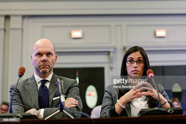 Former aide to New Jersey Gov Chris Christie Christina Renna and her attorney Krovatin Klingeman attend a hearing by the New Jersey Legislature's...