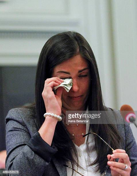 Former aide to New Jersey Gov Chris Christie Christina Renna cries as she testifies during a hearing by the New Jersey Legislature's Select Committee...