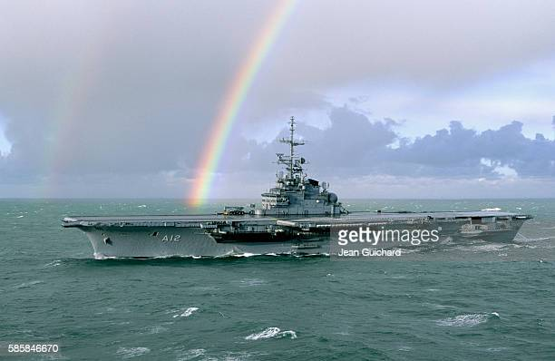 Former aircraft carrier Foch renamed Sao Paulo leaves Brest during a storm in the Iroise sea