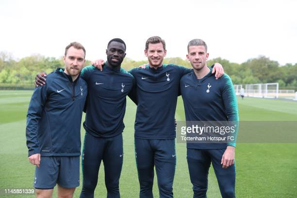 Former Ajax players Christian Eriksen Davinson Sánchez Jan Vertonghen Toby Alderweireld of Tottenham Hotspur FC via Getty Images pose during training...