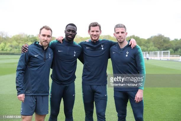 Former Ajax players Christian Eriksen, Davinson Sánchez, Jan Vertonghen, Toby Alderweireld of Tottenham Hotspur FC via Getty Images pose during...