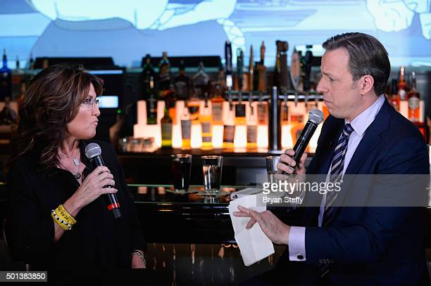 Former Alaska Gov Sarah Palin and CNN anchor Jake Tapper speak during CNN Politics On Tap at Double Barrel Roadhouse at the Monte Carlo Resort and...