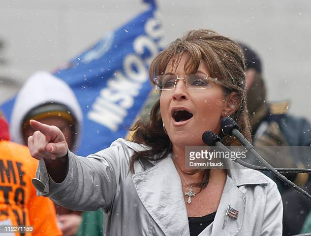 Former Alaska Gov Sarah Palin attends a Tea Party rally held by Americans for Prosperity at the Wisconsin State Capitol April 16 2011 in Madison...