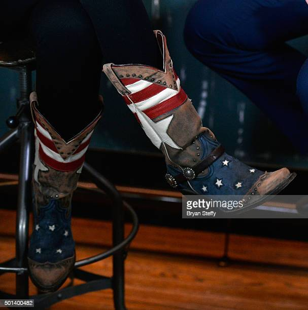 Former Alaska Gov Sarah Palin boots detail attends CNN Politics On Tap at Double Barrel Roadhouse at the Monte Carlo Resort and Casino on December 14...