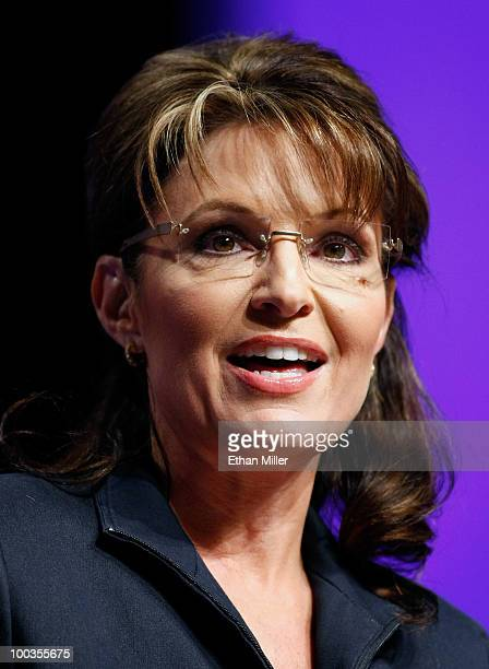 Former Alaska Gov Sarah Palin speaks at RECon 2010 the International Council of Shopping Centers' annual global retail real estate convention at the...