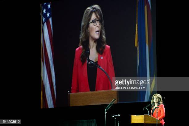 Former Alaska Governor and 2008 Republican party Vice Presidential nominee Sarah Palin addresses the audience at the 2016 Western Conservative Summit...