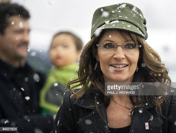 Former Alaska Governor and Republican vice presidential candidate Sarah Palin arrives to sign copies of her recently released book 'Going Rogue An...