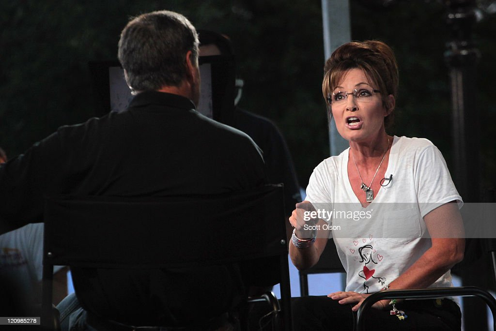 Former Alaska Governor Sarah Palin appears on the Sean Hannity Show during the Iowa State Fair August 12, 2011 in Des Moines, Iowa. Although Palin has not announced any intention of running for president, she joined most of the declared Republican presidential hopefuls who are visiting the fair ahead of tomorrow's Iowa Straw Poll to greet voters and engage in the traditional Iowa campaigning ritual.