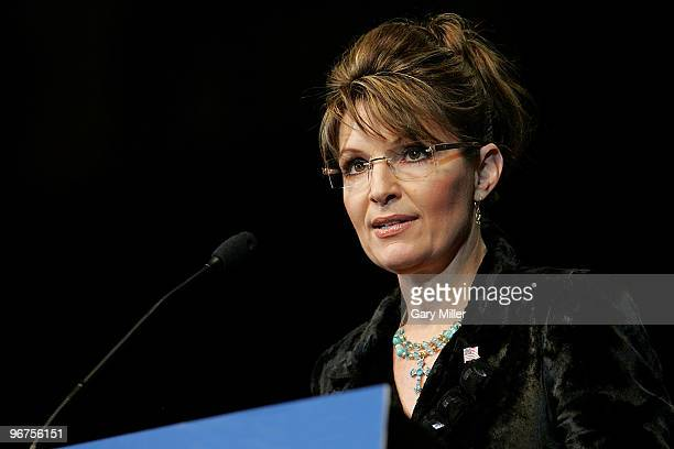 Former Alaska Governor Sarah Palin at a rally for Rick Perry's reelection at the Berry Center on February 7 2010 in Cypress Texas