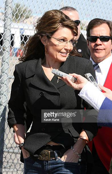 Former Alaska Governor Sarah Palin attends the Daytona 500 Daytona International Speedway on February 14 2010 in Daytona Beach Florida