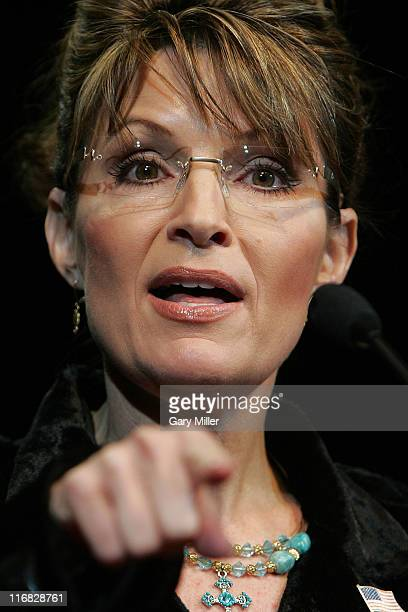 Former Alaska Governor Sarah Palin speaks at a rally for Texas Governor Rick Perry's reelection at the Berry Center on February 7 2010 in Cypress...