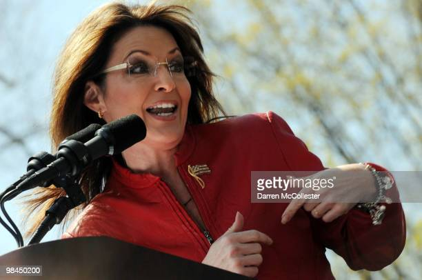 Former Alaska Governor Sarah Palin speaks at a Tea Party rally April 14 2010 on Boston Common in Boston Massachusetts The Tea Party Express is on a...