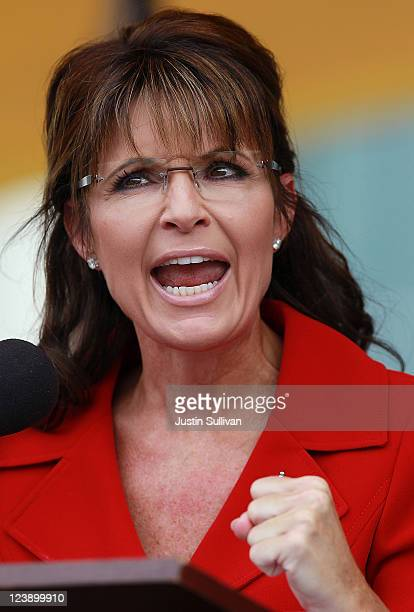 Former Alaska governor Sarah Palin speaks during a Tea Party Express rally on September 5 2011 in Manchester New Hampshire Hundreds of people...