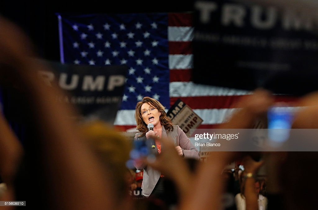 Former Alaska Governor Sarah Palin speaks on stage prior to Republican presidential candidate Donald Trump's town hall meeting on March 14, 2016 at the Tampa Convention Center in Tampa , Florida. Trump is campaigning ahead of the Florida primary on March 15.