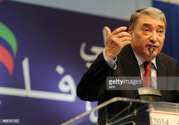 Former Algerian prime minister Ali Benflis speaks during a press conference during which he announced his decision to run in the 2014 presidential...