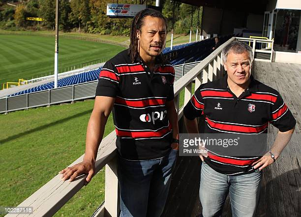 Former All Black captain Tana Umaga poses with head coach Milton Haig following his first press conference as the new Counties Manukau player and...