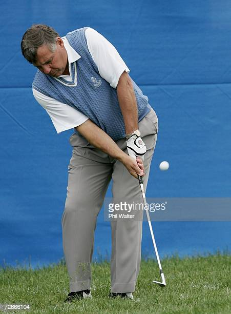 Former All Black coach John Hart chips onto the green during the New Zealand Open Pro Am at the Gulf Harbour Country Club on the Whangaparoa...