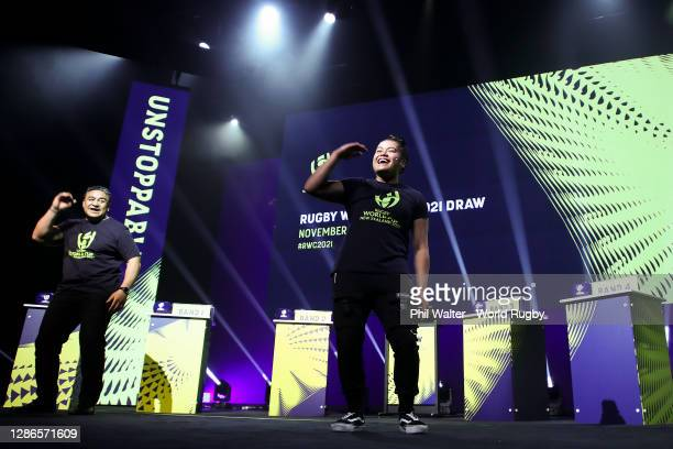 Former All Black, Eroni Clarke, and Tik Tok influencer, Jordyn Tereu, entertain during the Rugby World Cup 2021 Draw event at the SKYCITY Theatre on...