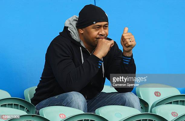 Former All Black, Jonah Lomu gives the thumbs up from the stands during an Australia IRB Rugby World Cup 2011 training session at North Harbour...