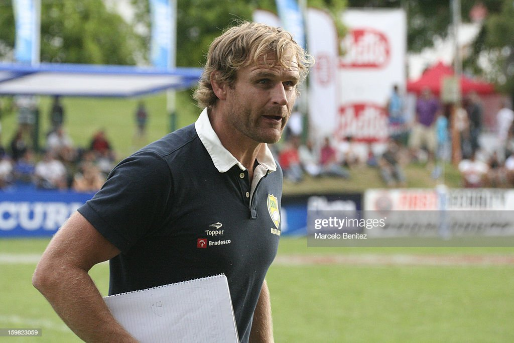 Former All Black player and current coach of Brazil Scott Robertson in action during the International Seven Tournament Viña del Mar 2013 on January 20, 2013 in Viña del Mar, Chile.