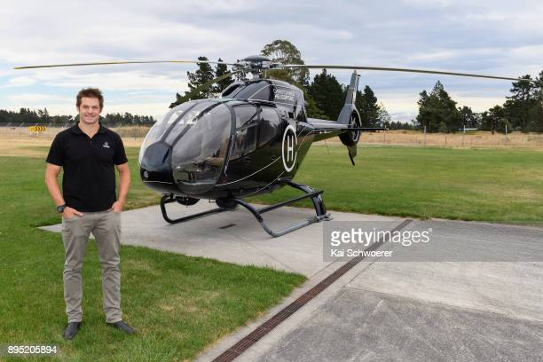 Former All Blacks captain Richie McCaw poses in front of a helicopter on his way to a Queens Baton Relay event on December 19 2017 in Christchurch...
