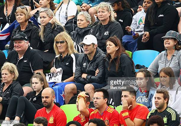 Former All Blacks captain Richie McCaw watches the action during the Women's Pool A Match between Spain and New Zealand on Day 5 of the Rio 2016...