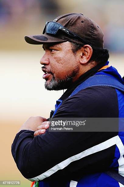 Former All Blacks halfback Ofisa Tonu'u looks on during the club rugby game between Ponsonby and Marist at Western Springs Stadium on May 2 2015 in...