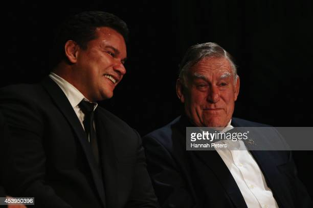 Former All Blacks Michael Jones and Sir Colin Meads speak during the New Zealand Rugby Annual Reunion Dinner at the Langham Hotel on August 22 2014...