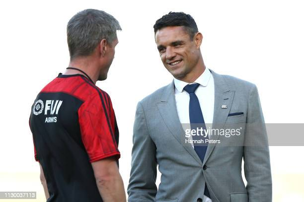 Former All Blacks player Dan Carter looks on during the Super Rugby match between the Blues and the Crusaders at Eden Park on February 16 2019 in...
