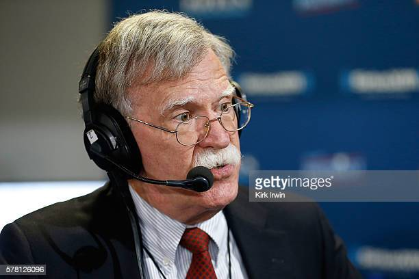 Former ambassador John Bolton sits down to talk with Andrew Wilkow on his show 'The Wilkow Majority' at Quicken Loans Arena on July 20 2016 in...