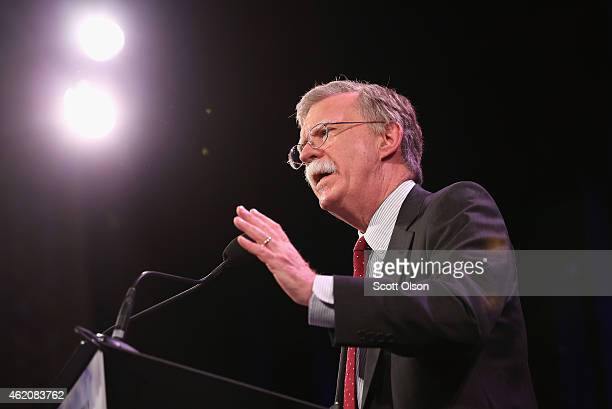 Former Ambassador to the United Nations John Bolton speaks to guests at the Iowa Freedom Summit on January 24 2015 in Des Moines Iowa The summit is...