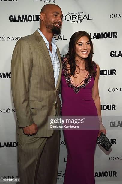 Former American Football player Jerramy Stevens and Professional soccer player Hope Solo attends 2015 Glamour Women Of The Year Awards at Carnegie...