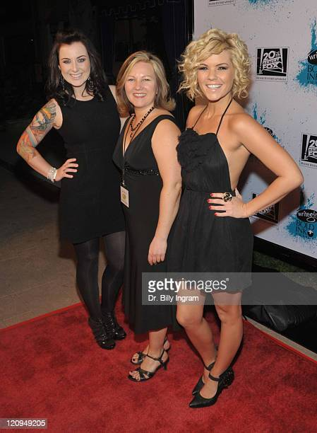 Former American Idol contestant Carlie Simpson and executive director Keren Taylor and former American Idol contestant Kimberly Caldwell arrive at...