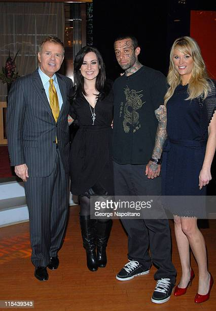 Former American Idol contestant Carly Smithson and husband Todd Smithson with hosts Mike Jerrick and Juliet Huddy visit The Morning Show with Mike...